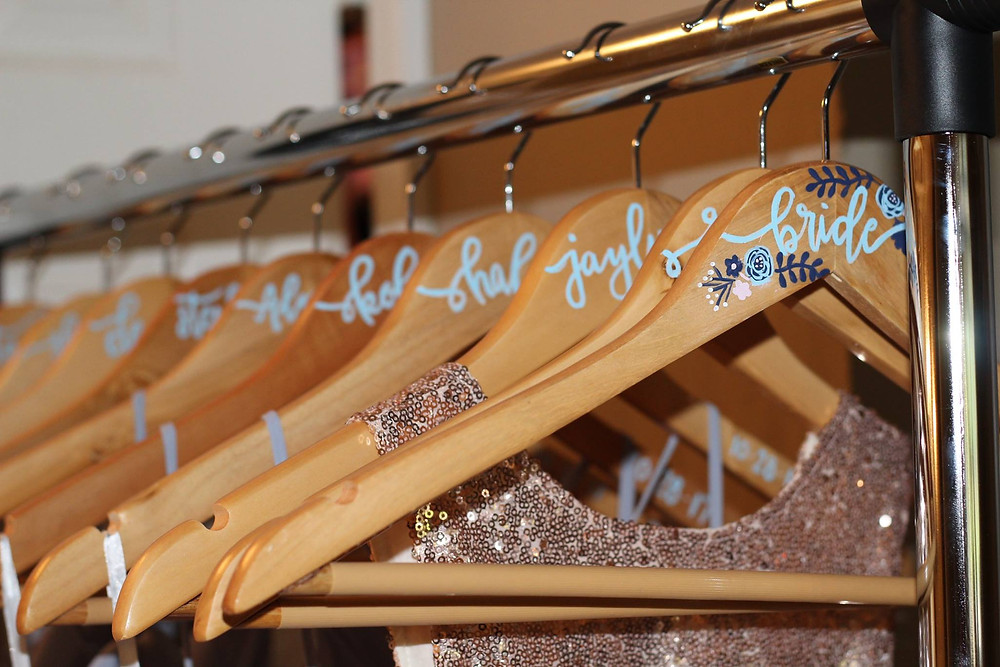 hand lettering, hand painted, calligraphy, hangers, wedding, bride, bridesmaid, bridesmaids