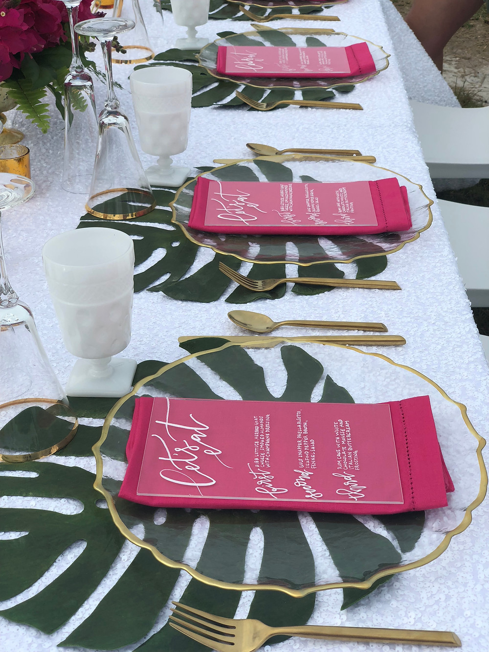 calligraphy, hand lettered, hand letter, hand lettering, gold, tropical, beach wedding, pink, green, sparkle, sequins