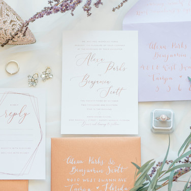 Copper & Lavender custom wedding invitation suite