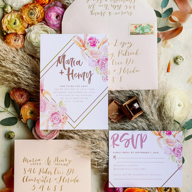 Boho Love Wedding Invitation Suite