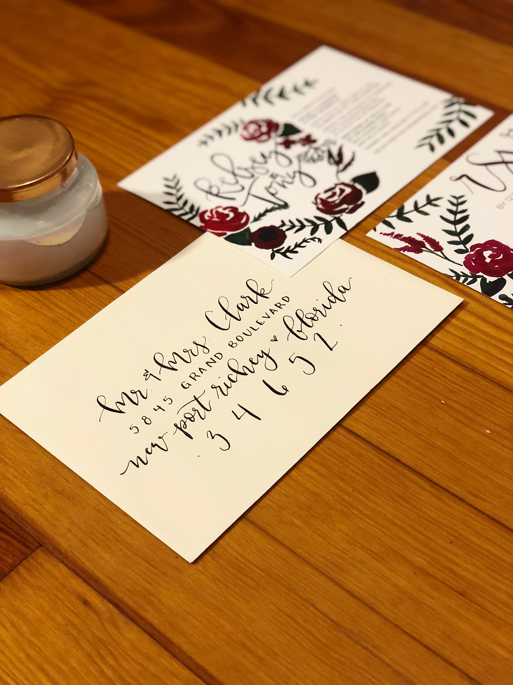 copper creative, calligraphy, dip pen, hand letter, hand lettered, hand lettering, custom, wedding, design, floral, flowers