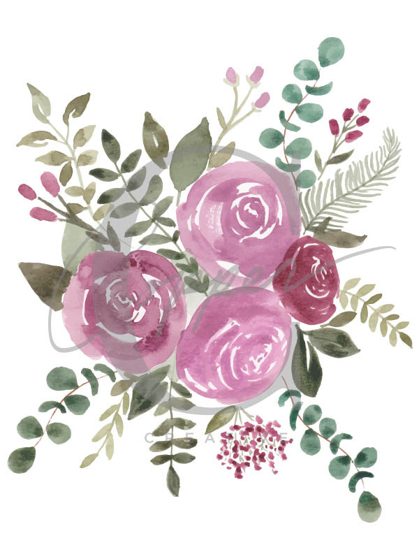 Hand-painted watercolor florals by Christie Clark of Copper Creative