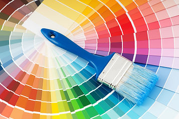 color palette guide and paint brush with