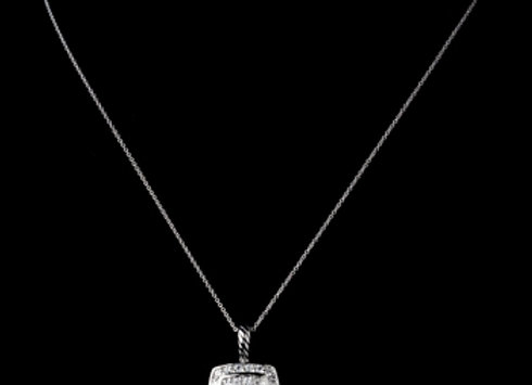 Solid 925 Sterling Silver CZ Crystal Square Pave Pendent Drop Necklace