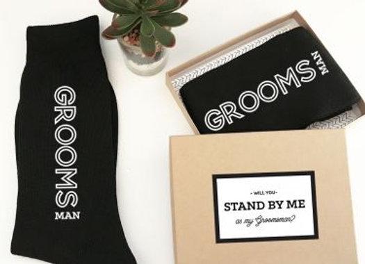 Black Groomsmen Dress Socks