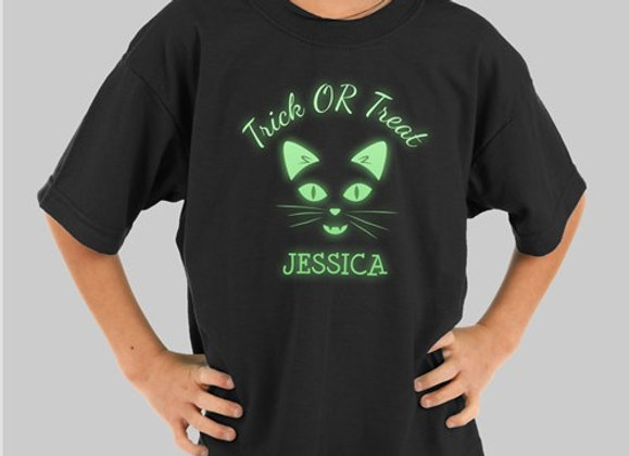Glow In The Dark Cat Face Personalized T-Shirt