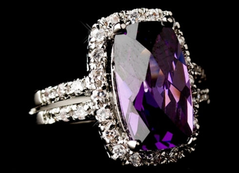 Chic Antique Silver Amethyst Ring