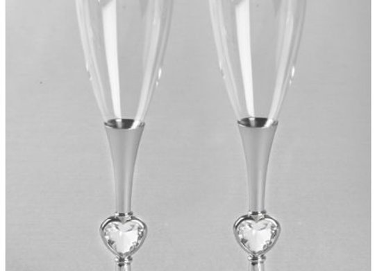 Silver Stem w/ Crystal Hearts Toasting Flutes