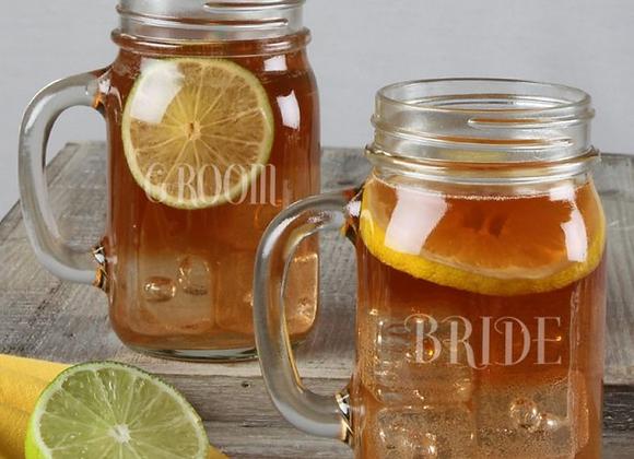 Mason Jar Mug Set Bride/Groom
