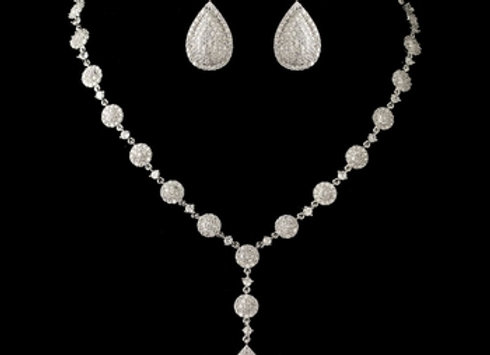 Rhodium Clear Round & Teardrop Pave CZ Crystal Necklace