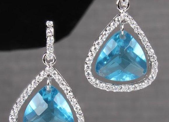 Pear Stone Earrings with Rhinestone Edge