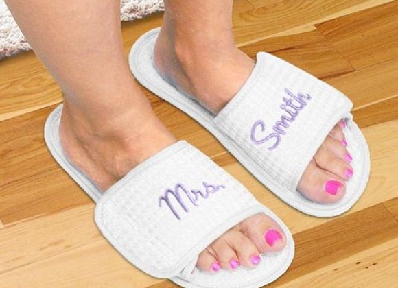 Embroidered Newlywed Waffle Weave Slippers