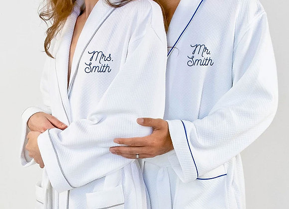 Mr and Mrs Smith Grid Style Bath Robe White