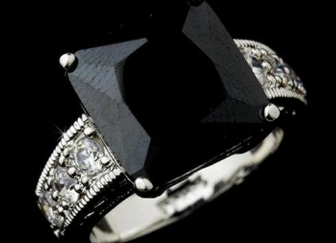 Striking Silver Black Princess Cut CZ Ring