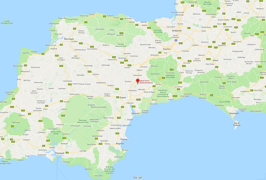 Map of Upton Farm B&B location, near Cul