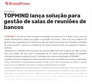 TOPMIND lança solução para gestão de salas de reuniões de bancos