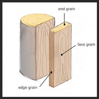 Illustration of End Grain vs Flat Grain (edge grain)