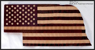 American Flag cutting board in the shape of Nebraska