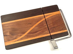 Wood Cheese Slicing Board made of Walnut, Maple and Wenge