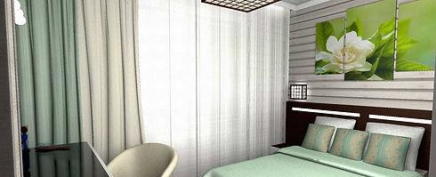 Спальная в зеленых тонах