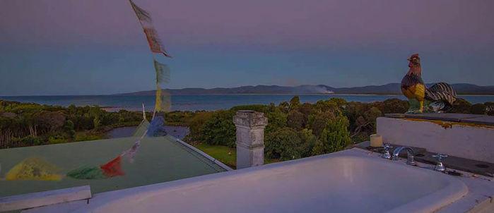 Romantic Bath on roof Tasmania