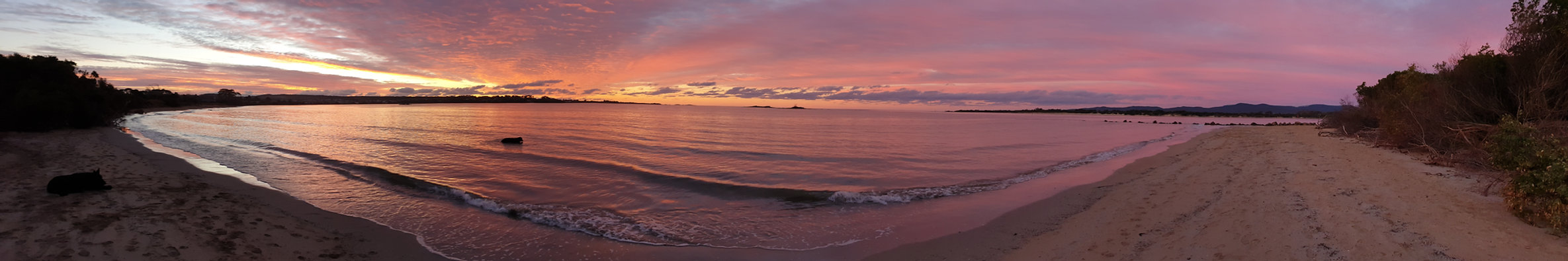 sunset beach wedding tasmania