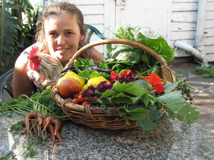 Garden produce and rooster