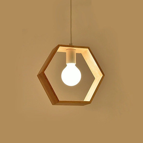 Nordic Wood Pendant Light-Hexagon