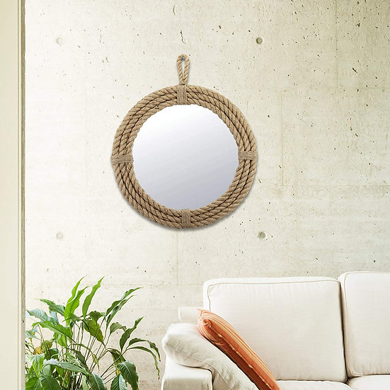 Small Round Wrapped Rope Mirror with Hanging Loop, Vintage Nautical Design