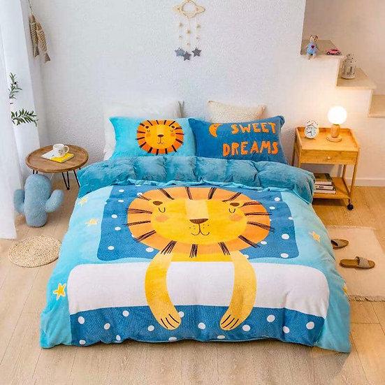 Lion Kids Room Quilt Velvet Bedding