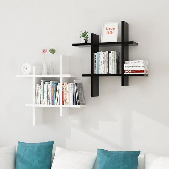 Modern Decor Shelf #Square Black And White - 2pcs