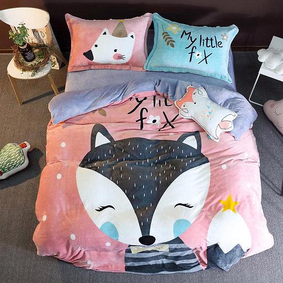 My Littel Fox Kids Room Quilt Velvet Bedding