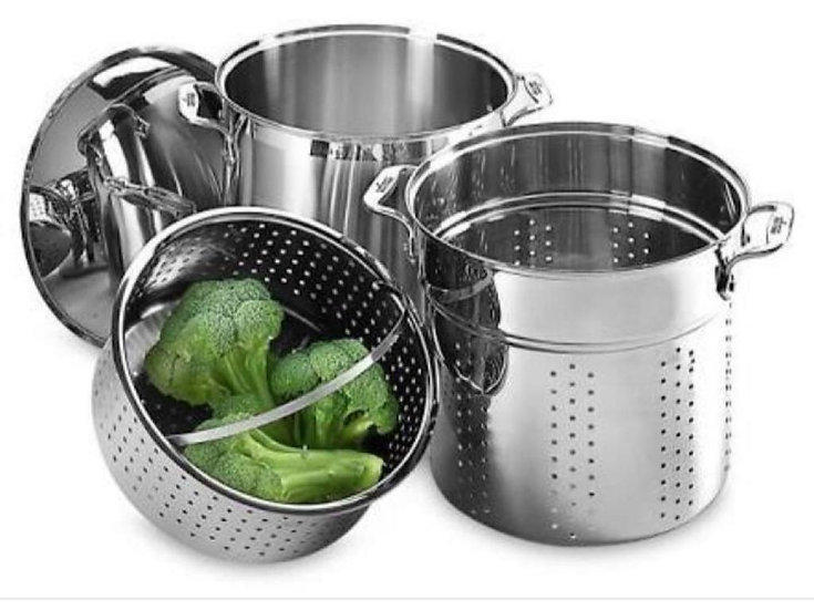 Stainless Steel Multi cooker with Perforated Steel Insert 24cm