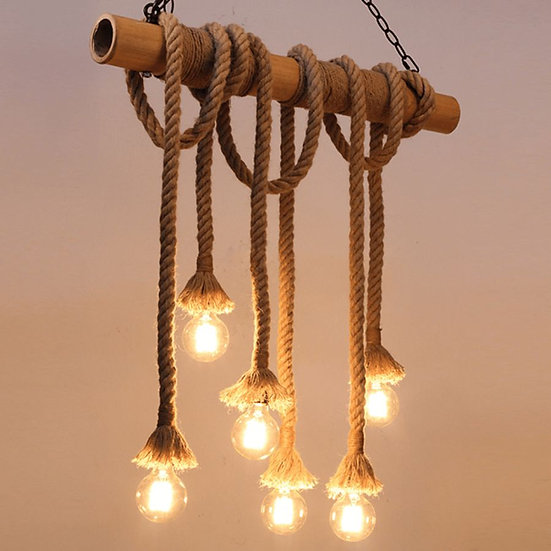 Bamboo 6 bulb chandelier