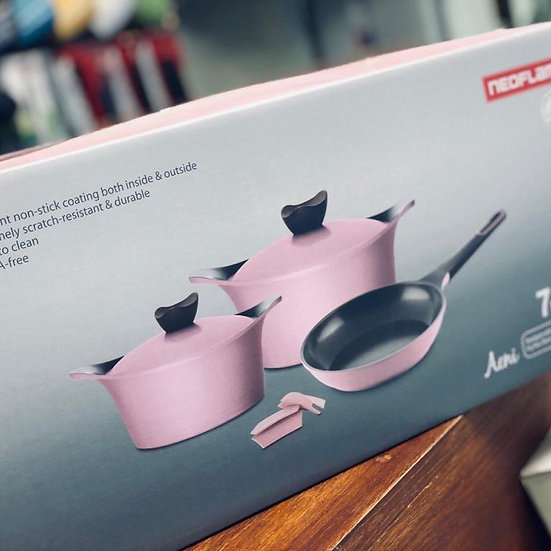 Neoflam 7pcs Aeni Pink color Ceramic Cookware Set
