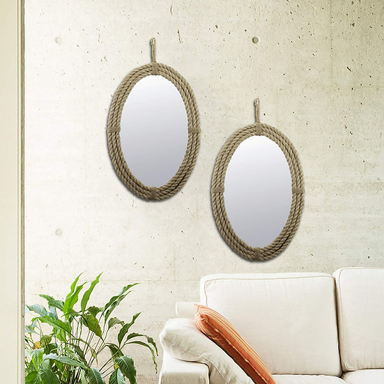 2 Oval Wrapped Rope Mirror with Hanging Loop, Vintage Nautical Desi