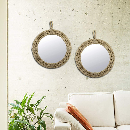 2 Round Wrapped Rope Mirror with Hanging Loop, Vintage Nautical Desi
