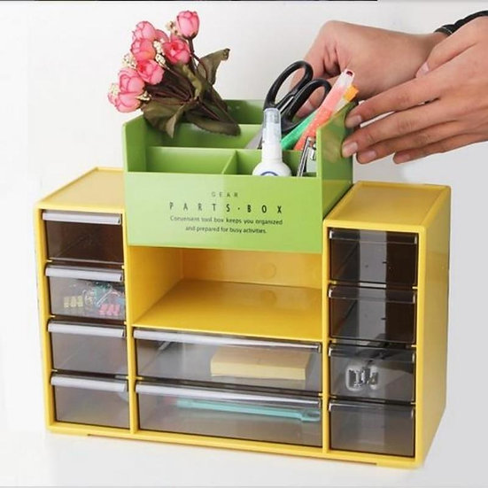 Desk Organizer With 10 Drawers Plastic Cosmetic Storage Box