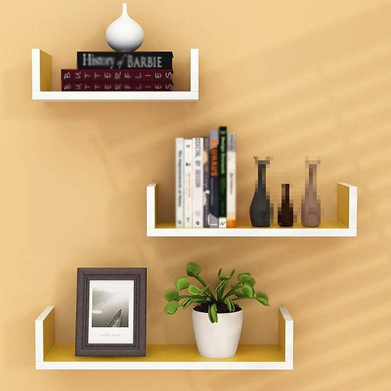 Modern Decor Shelf - 3 Pcs - Yellow/White