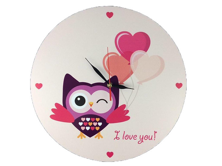 I Love You Owl Wall Clock for Kids