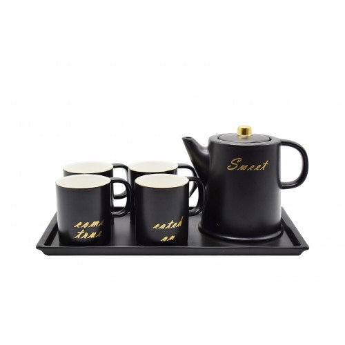 Black Porcelain Set Of 4 Mugs with tray Pot Set