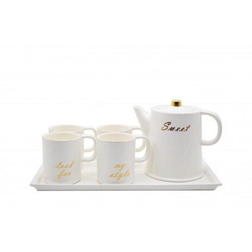 White Porcelain Set Of 4 Mugs with tray Pot Set