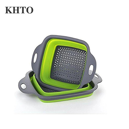 2PCS/SET Foldable Silicone Square Basket Green