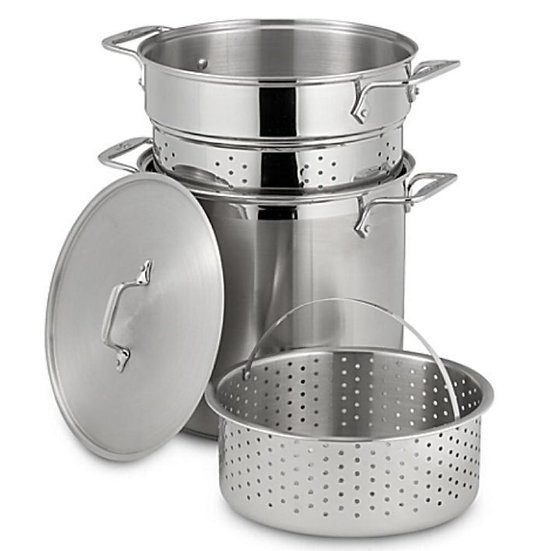 Stainless Steel Multi cooker with Perforated Steel Insert & Steamer Basket 26 cm