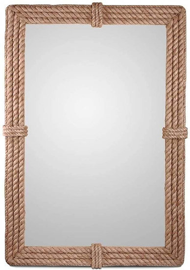 Rectangular Wrapped Rope Mirror with Hanging Loop, Vintage Nautical Desi