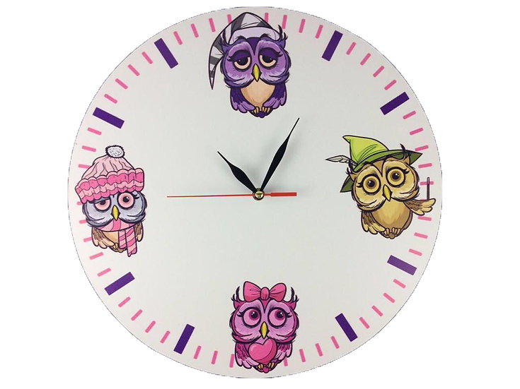 Owl Family Wall Clock for Kids