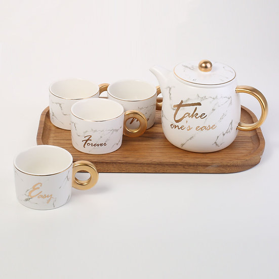 White Porcelain Set Of 4 Mugs with tea wooden tray Pot Set