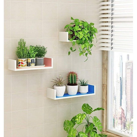 Modern Decor Shelf - 3 Pcs - Blue/White