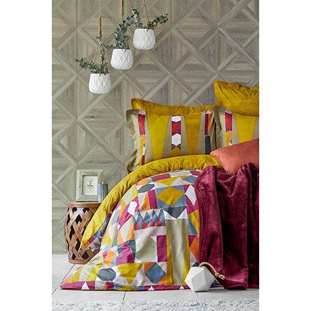 Karaca Home Vitali Mustard Duvet Cover and Soft Spanish Blanket Set