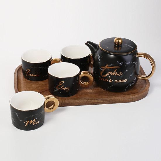 Black Porcelain Set Of 4 Mugs with tea wooden tray Pot Set